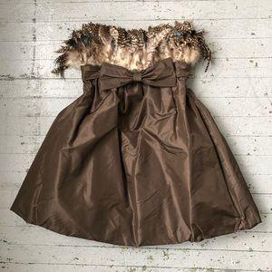Dresses & Skirts - Vintage Feather Bodice Silk Cocktail Dress